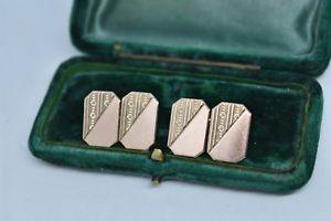 【送料無料】メンズアクセサリ― ヴィンテージローズゴールドメンズカフスボタンアールデコデザインvintage 9ct rose gold mens cufflinks with an art deco design 708g g140