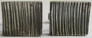【送料無料】メンズアクセサリ― ハロルドビンテージスターリングシルバーラインカフリンクスharold fithian 1950s vintage modernist sterling silver textured lines cufflinks
