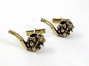 【送料無料】メンズアクセサリ― ビンテージパイプマウスカフスボタンスワンクvintage goldtone pipe mouse cufflinks by swank 31517