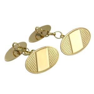 送料無料 メンズアクセサリ― ゴールドカフリンクス9ct gold patterned oval cufflinks 謝礼 粗品 返品OK ご挨拶