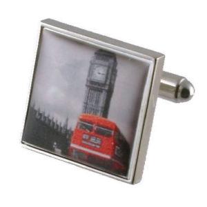【送料無料】メンズアクセサリ― ビッグベンレッドロンドンバスカフスボタンソリッドスターリングシルバーメッセージボックスbig ben red london bus cufflinks solid sterling silver 925 engraved message box