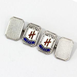 【送料無料】メンズアクセサリ― ビンテージスターリングシルバーエナメルカフスボタンvintage engraved sterling silver and enamel cufflinks, c1953, hallmarked