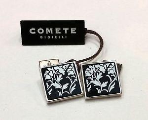 【送料無料】メンズアクセサリ― ジュエリーシルバーオニキスcufflinks comets jewelry silver squares onyx with engraving flowers vgm 163