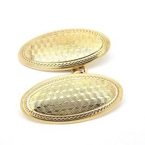 送料無料 メンズアクセサリ― イエローゴールドヴィンテージカフスボタンチェーンリンク9ct yellow gold vintage engraved cufflinks chain link 21 x 11mm 通学 粗品 引出物 ホワイトデー