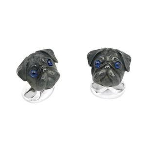 【送料無料】メンズアクセサリ― ディーキンフランシススターリングシルバーヘッドカフリンクスサファイアdeakin and francis sterling silver pug head cufflinks with sapphire eyes