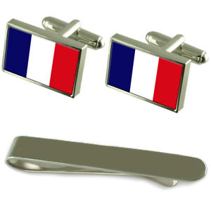 Connecticut Flag Silver Cufflinks Tie Clip Box Gift Set