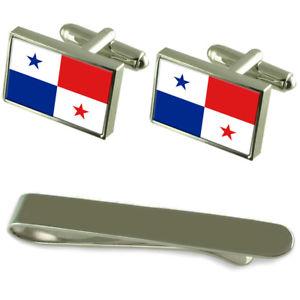 【送料無料】メンズアクセサリ― フラグシルバーカフスボタンタイクリップボックスセットpanam flag silver cufflinks tie clip box gift set