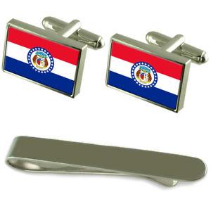 【送料無料】メンズアクセサリ― ミズーリシルバーカフスボタンタイクリップボックスセットmissouri flag silver cufflinks tie clip box gift set