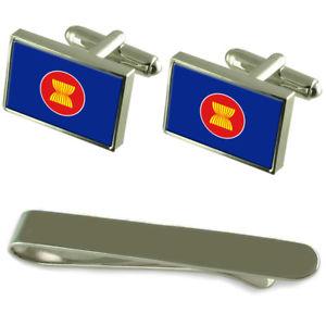 【送料無料】メンズアクセサリ― フラグシルバーカフスボタンタイクリップボックスセットasean flag silver cufflinks tie clip box gift set