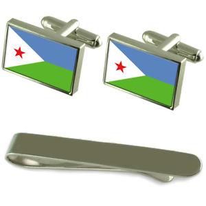 【送料無料】メンズアクセサリ― ジブチシルバーカフスボタンタイクリップボックスセットdjibouti flag silver cufflinks tie clip box gift set