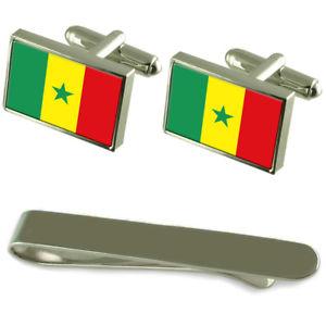 【送料無料】メンズアクセサリ― セネガルシルバーカフスボタンタイクリップボックスセットsenegal flag silver cufflinks tie clip box gift set