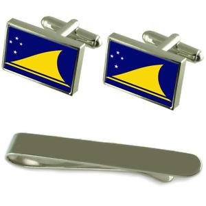 【送料無料】メンズアクセサリ― トケラウシルバーカフスボタンタイクリップセットtokelau flag silver cufflinks tie clip engraved gift set