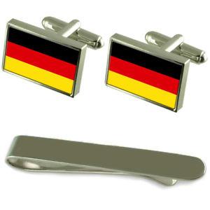 【送料無料】メンズアクセサリ― ドイツシルバーカフスボタンタイクリップセットgermany flag silver cufflinks tie clip engraved gift set
