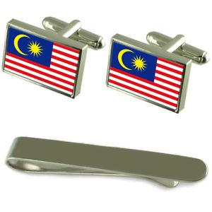 【送料無料】メンズアクセサリ― マレーシアシルバーカフスボタンタイクリップセットmalaysia flag silver cufflinks tie clip engraved gift set
