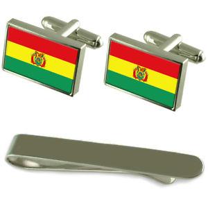【送料無料】メンズアクセサリ― ボリビアシルバーカフスボタンタイクリップセットbolivia flag silver cufflinks tie clip engraved gift set