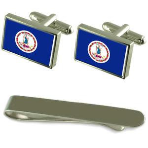 【送料無料】メンズアクセサリ― バージニアシルバーカフスボタンタイクリップセットvirginia flag silver cufflinks tie clip engraved gift set