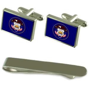 【送料無料】メンズアクセサリ― ユタシルバーカフスボタンタイクリップボックスセットutah flag silver cufflinks tie clip box gift set