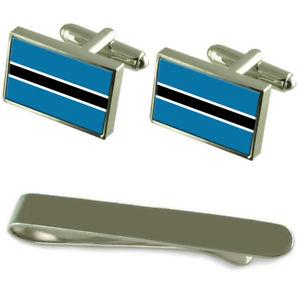 【送料無料】メンズアクセサリ― ボツワナシルバーカフスボタンタイクリップボックスセットbotswana flag silver cufflinks tie clip box gift set