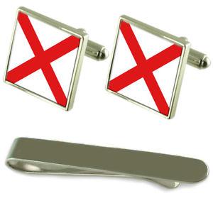 【送料無料】メンズアクセサリ― アラバマシルバーカフスボタンタイクリップセットalabama flag silver cufflinks tie clip engraved gift set