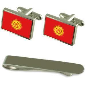 【送料無料】メンズアクセサリ― キルギスタンシルバーカフスボタンタイクリップボックスセットkyrgyzstan flag silver cufflinks tie clip box gift set