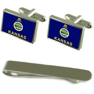 【送料無料】メンズアクセサリ― カンザスシルバーカフスボタンタイクリップボックスセットkansas flag silver cufflinks tie clip box gift set