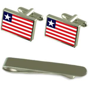 【送料無料】メンズアクセサリ― リベリアシルバーカフスボタンタイクリップセットliberia flag silver cufflinks tie clip engraved gift set