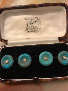 【送料無料】メンズアクセサリ― ビクトリアゴールドカフリンクスターコイズシードvictorian 9ct gold hallmarked cufflinks set with turquoise amp; seed pearls rare