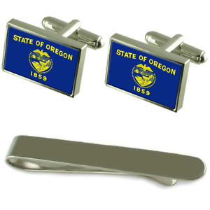 【送料無料】メンズアクセサリ― オレゴンシルバーカフスボタンタイクリップセットoregon flag silver cufflinks tie clip engraved gift set