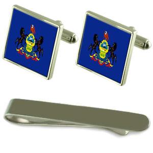 【送料無料】メンズアクセサリ― ペンシルバニアシルバーカフスボタンタイクリップボックスセットpennsylvania flag silver cufflinks tie clip box gift set