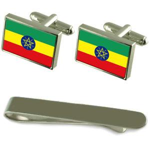 【送料無料】メンズアクセサリ― エチオピアシルバーカフスボタンタイクリップボックスセットethiopia flag silver cufflinks tie clip box gift set