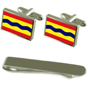 【送料無料】メンズアクセサリ― フラグシルバーカフスボタンタイクリップボックスセットoverijssel flag silver cufflinks tie clip box gift set
