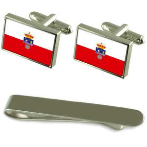 【送料無料】メンズアクセサリ― カンタブリアフラグシルバーカフスボタンタイクリップボックスセットcantabria flag silver cufflinks tie clip box gift set