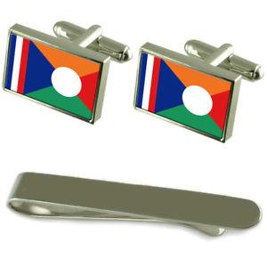 【送料無料】メンズアクセサリ― レユニオンフラッグシルバーカフスボタンタイクリップボックスセットrunion flag silver cufflinks tie clip box gift set