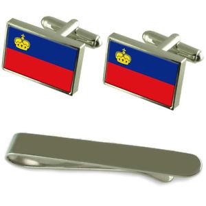 【送料無料】メンズアクセサリ― リヒテンシュタインシルバーカフスボタンタイクリップボックスセットliechtenstein flag silver cufflinks tie clip box gift set