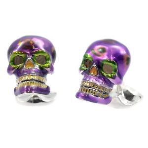 【送料無料】メンズアクセサリ― ディーキンフランシスシルバーメキシカンスカルパープルカフスボタンキャンディカラベラスdeakin and francis silver mexican skull purple cufflinks candy sugar calaveras