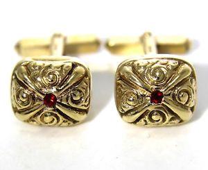 【送料無料】メンズアクセサリ― イエローゴールドクッションカフスボタンカフリンクスkitsch 1960s ruby paste 9ct yellow gold cushion cufflinks cuff links