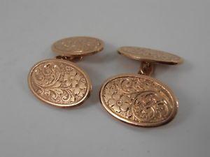 【送料無料】メンズアクセサリ― アンティークローズゴールドチェーンリンクカフリンクスカフスボタンantique 9ct rose gold chain link oval cuff links hallmarked cufflinks chester