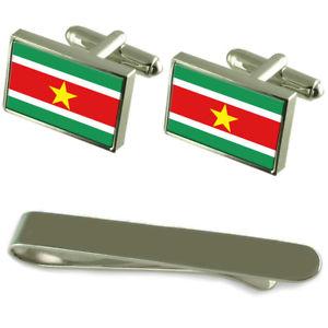 【送料無料】メンズアクセサリ― スリナムシルバーカフスボタンタイクリップセットsuriname flag silver cufflinks tie clip engraved gift set