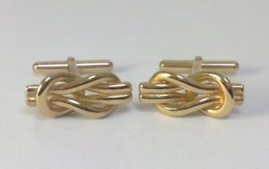 【送料無料】メンズアクセサリ― ビンテージゴールドリーフスクエアノットカフリンクスvintage hallmarked 9ct gold nautical reef or square knot cufflinks 62g