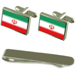 【送料無料】メンズアクセサリ― フラグシルバーカフスボタンタイクリップボックスセットirn flag silver cufflinks tie clip box gift set