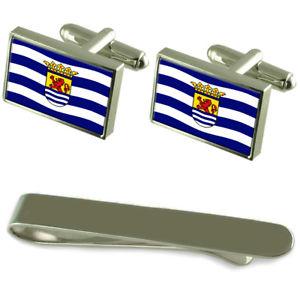 【送料無料】メンズアクセサリ― ゼーラントシルバーカフスボタンタイクリップセットzeeland flag silver cufflinks tie clip engraved gift set