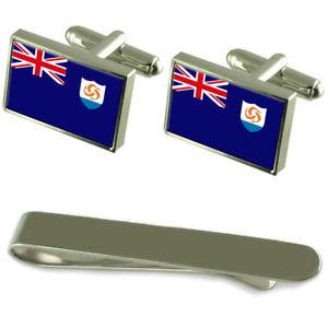 【送料無料】メンズアクセサリ― アンギラシルバーカフスボタンタイクリップボックスセットanguilla flag silver cufflinks tie clip box gift set