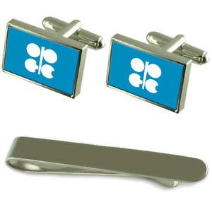 【送料無料】メンズアクセサリ― opecフラグシルバーカフスボタンタイクリップボックスセットopec flag silver cufflinks tie clip box gift set
