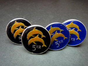 【送料無料】メンズアクセサリ― アイスランドコインイルカカフリンクスiceland coin cufflinks 5 kronur dolphins