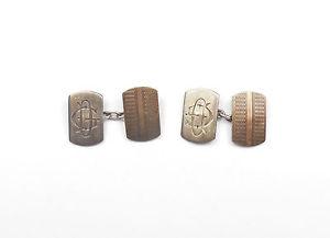 【送料無料】メンズアクセサリ― アールデコデザインビンテージスターリングシルバーcufflinks art deco design vintage 925 sterling silver gents initial 56g