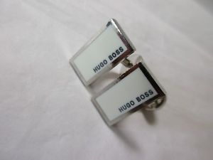 【送料無料】メンズアクセサリ― ヒューゴボスシルバーエナメルカフスボタンプリhugo boss silver toned with white enamel cufflinks pre loved