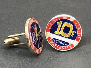 【送料無料】メンズアクセサリ― フランスエナメルコインカフスボタンフランデマンシェットfrance enamel coin cufflinks 10 franc 23mm boutons de manchette