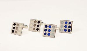 【送料無料】メンズアクセサリ― スターリングシルバーエナメルトーンカフリンクスsquare sterling silver with enamel dots hallmarked 3 tone cufflinks