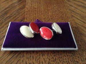 【送料無料】メンズアクセサリ― レッドエナメルカフスボタンボックスブランドt m lewin red amp; white enamel cufflinks brand in box