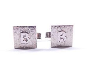 【送料無料】メンズアクセサリ― ファンシーレタービンテージスターリングシルバーカフスボタンcufflinks fancy letter initial b vintage 925 sterling silver cufflinks 79g